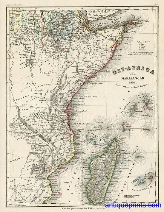 digital map of historical east africa in 1857 |