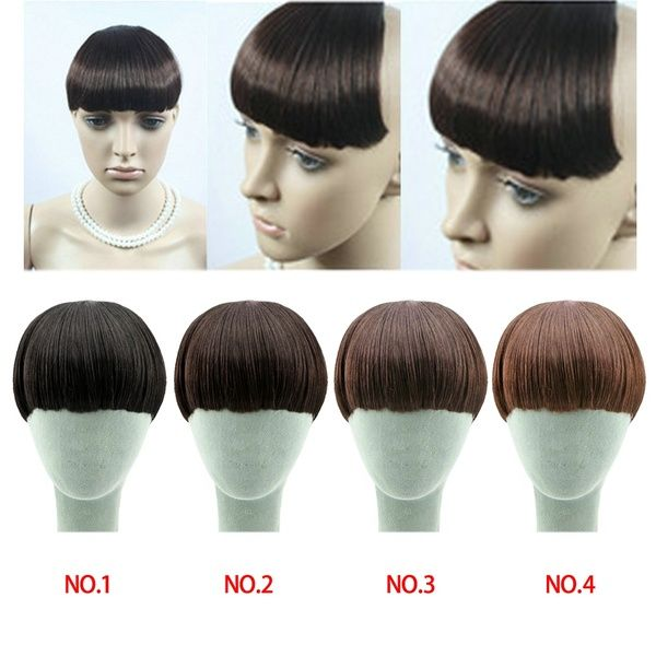 Woman's Girls Hairpiece Neat Bang Fringe Clip-In/on Hair Extensions 4 colros