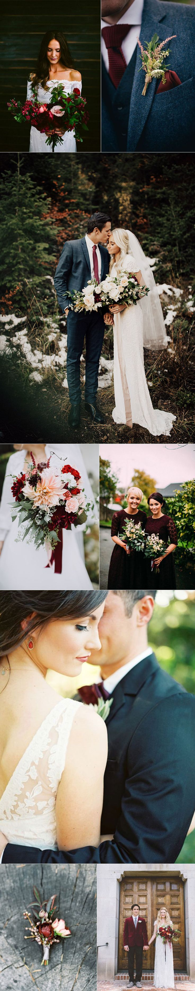 Winter Wedding in White and Oxblood