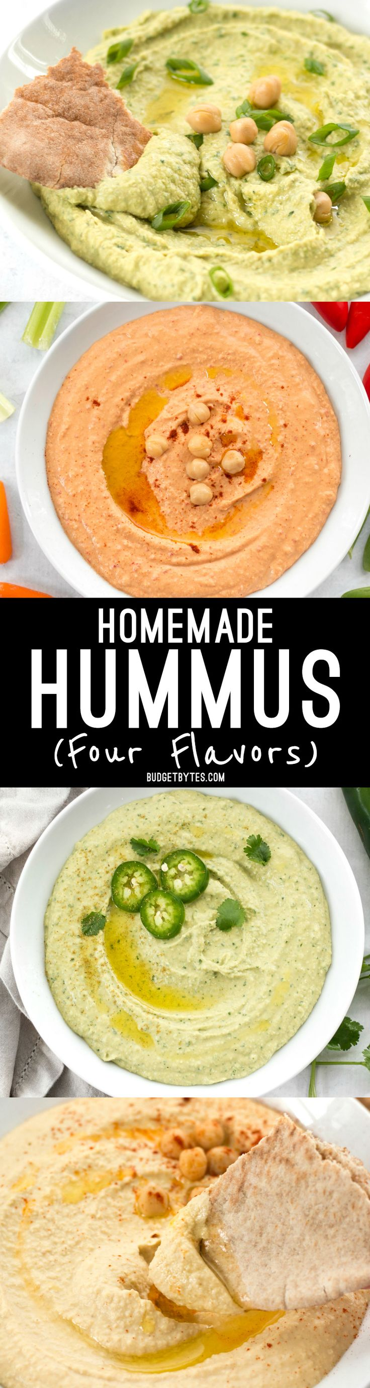 Homemade hummus is quick, easy, and inexpensive, and can be made with several different flavor add-ins. Here are four delicious flavors to try. @budgetbytes