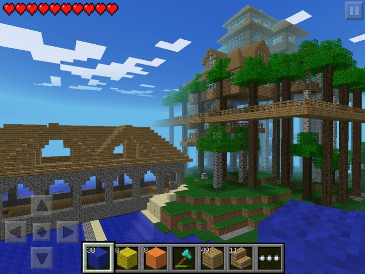 (W1) The shipping yard next to the tree house in Minecraft PE