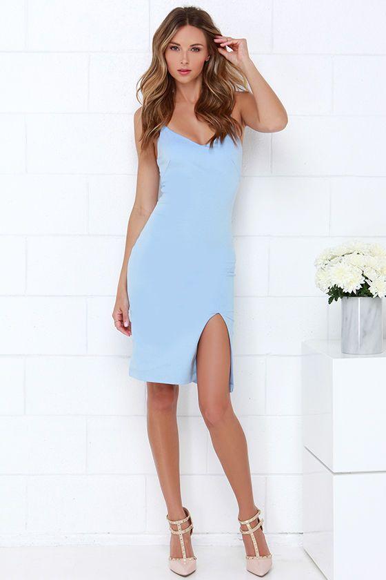 Beautifully Bold Light Blue Bodycon Dress at Lulus.com!