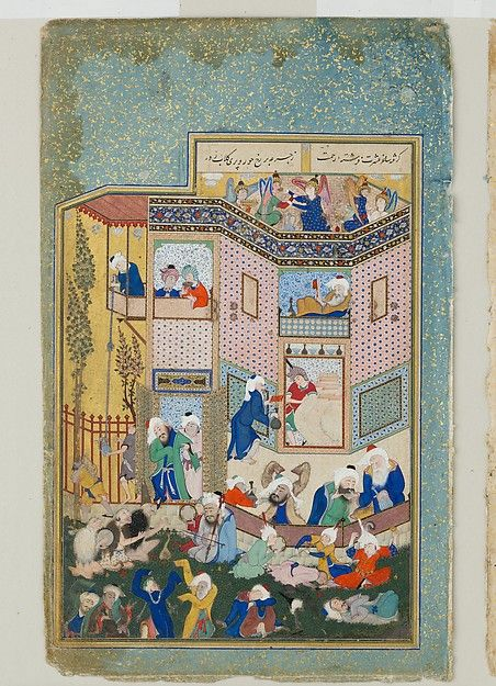 "Sultan Muhammad (Persian, active first half 16th century). ""Allegory of Worldly and Otherworldly Drunkenness"", Folio from the Divan of Hafiz, ca. 1531–33. The Metropolitan Museum of Art, New York. Jointly owned by The Metropolitan Museum of Art and Arthur M. Sackler Museum, Harvard University; Gift of Mr. and Mrs. Stuart Cary Welch Jr. 1988 (1988.430)"