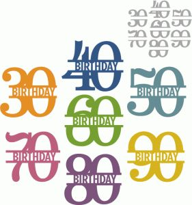 Silhouette Design Store - View Design #67154: simple birthday split number 30-90