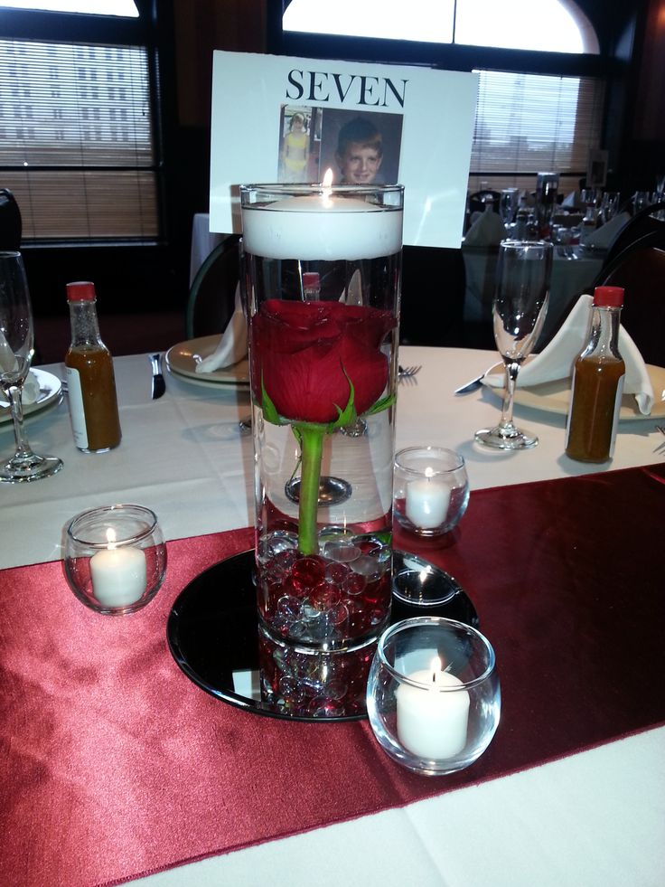 red themed wedding reception   elegant red rose with floating candle centerpieces wedding
