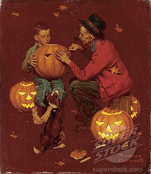 Norman Rockwell, Witch, Goblin, Black Cat, Jack-O-Lantern, Bat, Skull, Ghost, Spooky, Full Moon, Pumpkin, Trick or Treat, Autumn, Fall, Haunted, Scarecrow, Magic Potion, Creepy, Spells, Ghouls