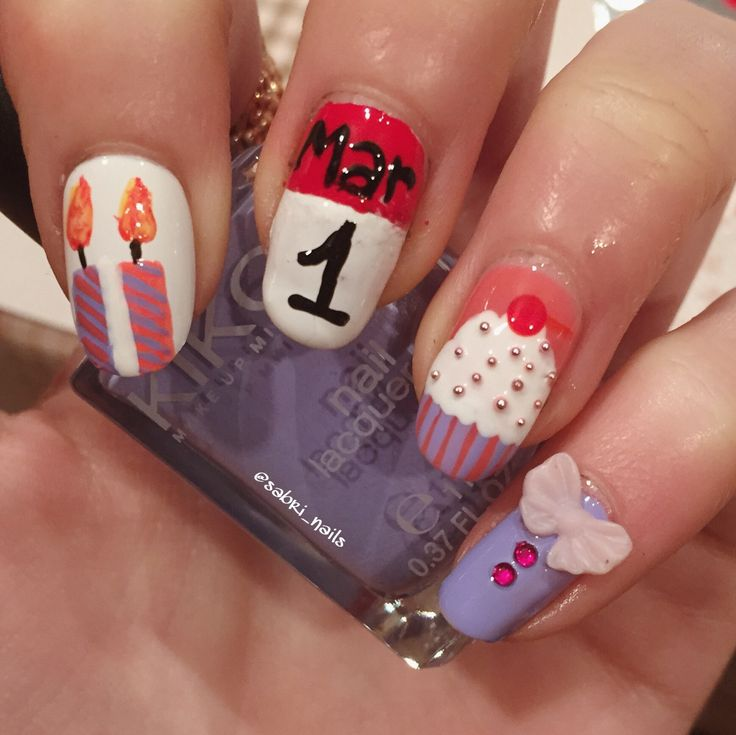 """2nd @Glamnailschallenge birthday nail design"""