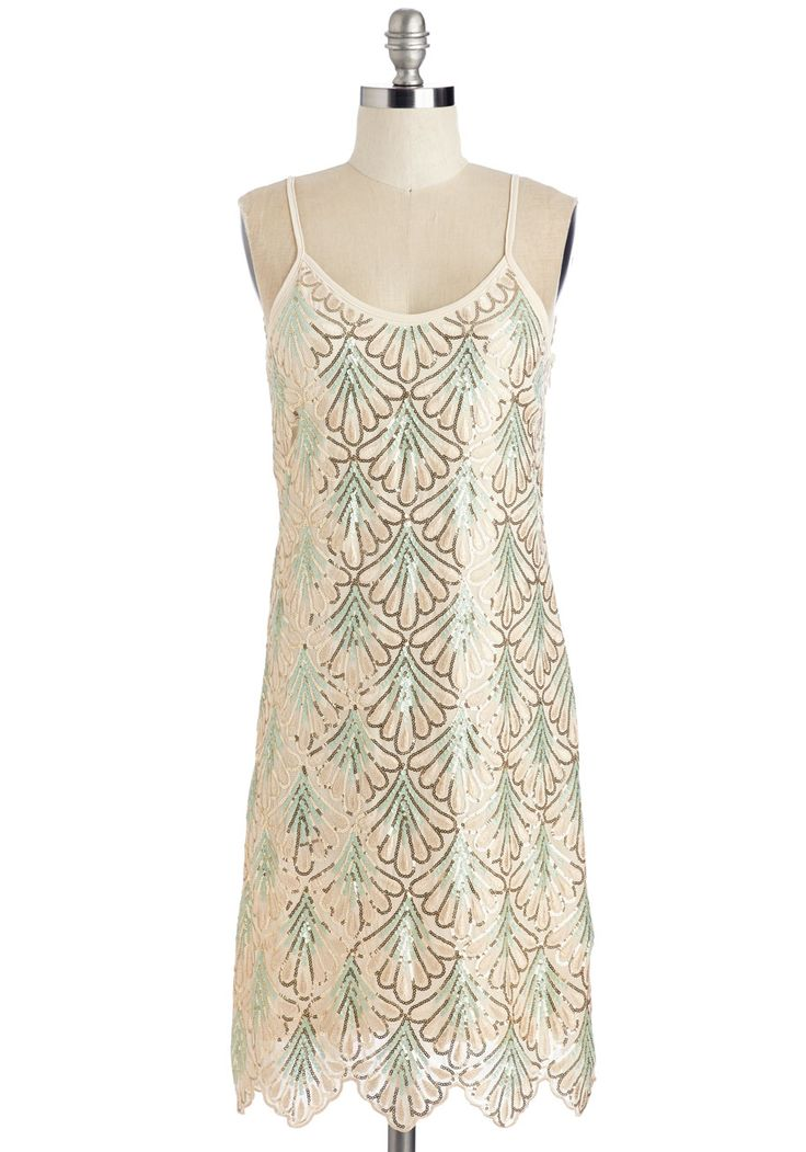 Come on, Let's Deco! Dress. Excited for that sparkling celebration around the corner? #cream #prom #modcloth