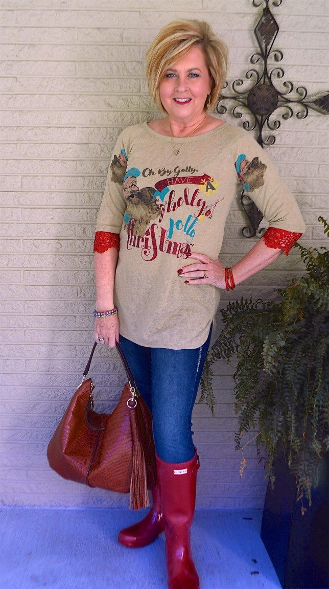 50 IS NOT OLD   JEANS, BOOTS, AND T-SHIRTS   Christmas Casual   Shopping Outfit   Hunter Boots   Fashion over 40 for the everyday woman
