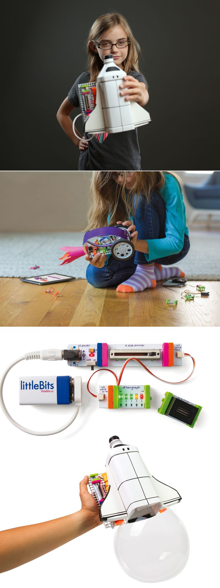 Littlebits un kit per aspiranti maker! #diy #makers #littlebits #faidate #kids littleBits makes technology kits that are fun, easy-to-use, and infinitely creative. The kits are composed of electronic building blocks that are color-coded, magnetic, and make complex technology simple and fun. Together they're interchangeable in millions of different ways to empower kids to invent anything - from a sibling alarm, to a wireless robot, to a digital instrument.