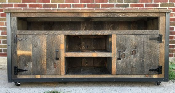 Rustic Industrial weathered barn board entertainment center TV