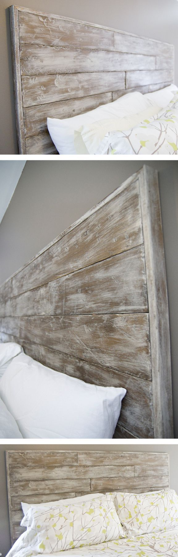 We made our own DIY faux-reclaimed wood headboard by texturizing, staining, painting, sanding, and varnishing Poplar wood.