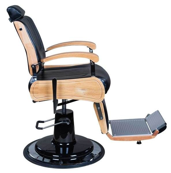 Icarus Wilson Modern Black Barber Chair With Heavy Duty Base Wood Trims Barber Chairs Icarus Barber Chair Barber Chair Vintage Barber Shop Chairs