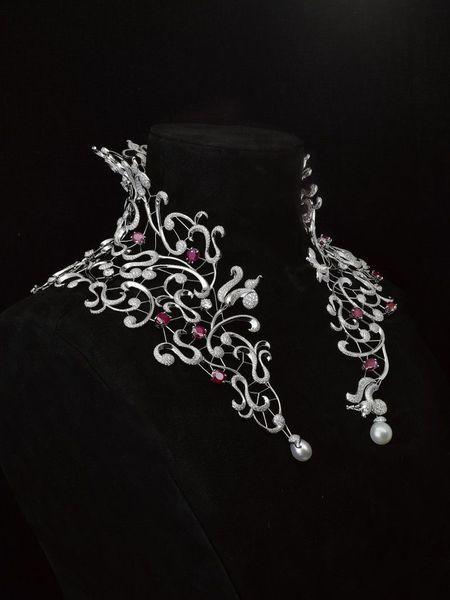 "MELLERIO MELLER said. Medici collection. Necklace ""Medici"". Neck collar white gold, diamonds and 35 carat Burmese ruby  created by édéenne.... Très original!!!"