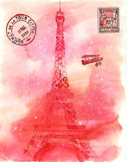 #pink #Paris #postcard