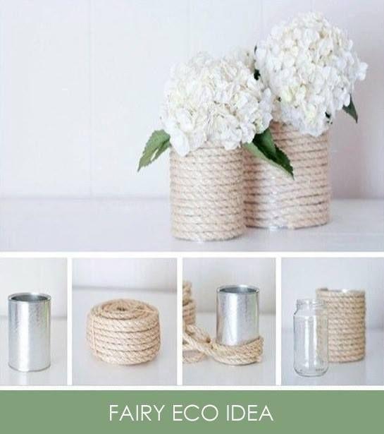 Una Eco-Idea per decorare con ricercatezza , la tavola delle cene con amici o anche per ridare vita e personalità' a un piccolo angolo di libreria .Riutilizzate e riciclate in maniera creativa le latte dei prodotti in scatola ,  info@fairyeco.com