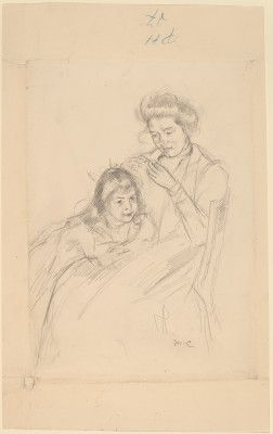 """Mary Cassatt, """"Margot Leaning against Reine's Knee,"""" c. 1902, graphite on wove paper; graphite sketch of female figure on verso, The Armand Hammer Collection #drawing #figuredrawing"""