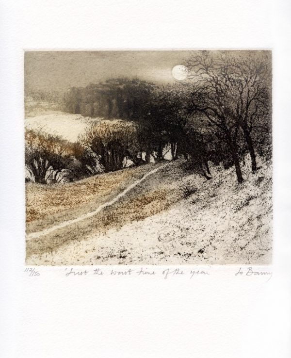 """Jo Barry """"Just the Worst Time of Year"""", Hand Colored Etching, image size 6 x 7 paper size 11 x 11"""