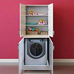 Fly Çamaşır Makinası Üst Dolaplı Boy Dolabı  - Beyaz
