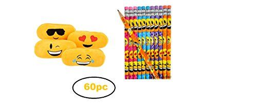 "Awesome Birthday Party Pack/ Favors! Also, Fun Teacher Gifts 60Pc Emoji Fun Party Pack 48 Emoji Pencils ~ These Pencils are 7.5"" 12 Emoticon Pencil Cases ~ 8"" Zippered Pencil Cases That Features a Variety of Embroidered Emoticon Characters Awesome for Winter, Fall and Spring Fair ~ Great Holiday Or Birthday Party Favors ~ Teacher …"