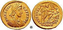 Moeda da Roma Antiga – Wikipédia, a enciclopédia livre Soldo de Arcádio.
