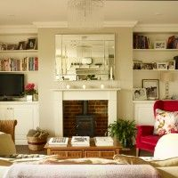 White and cranberry living room