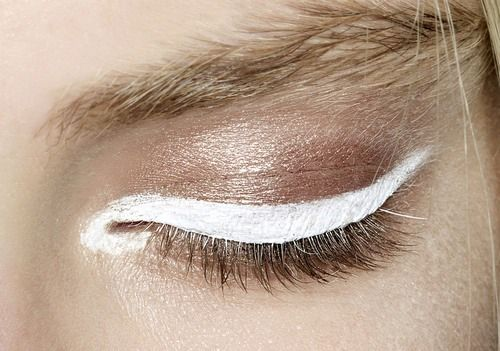 I'm loving this new eye look, its really fresh. sweep rose gold or bronze eye shadow all over lid and instead of black eye liner, use white eye liner. very chic and brightening...