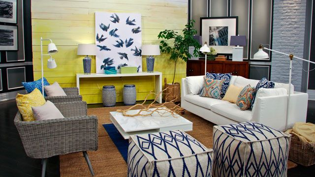 Click to read how decor expert Trish Johnston decorated this cheerful living room. #MyHomeSense