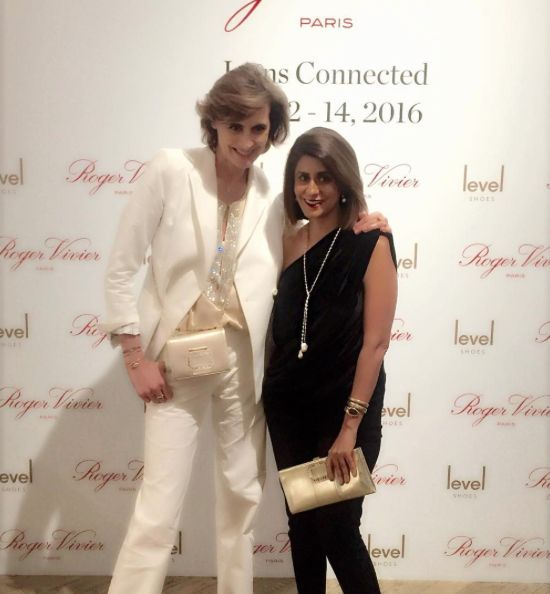 [Fashion Icon] Harper's Bazaar India launch editor Sujata Assomull in Isharya Pearl Lariat Necklace with French style icon Ines de la Fressange at the opening of Roger Vivier Icons Connected in Dubai