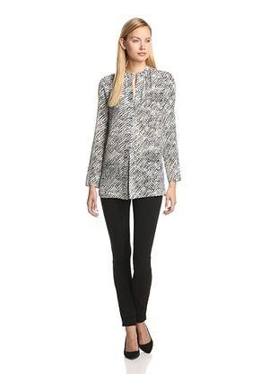60% OFF DEREK LAM Women's Printed Georgette Long Sleeve Tunic (Black/White)