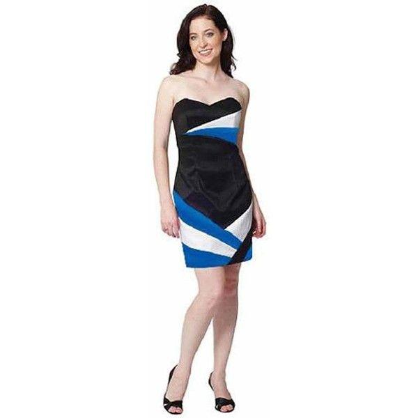 Strapless Black Dress Blue & White Splashes ($25) ❤ liked on Polyvore featuring dresses, black, formal cocktail, cocktail prom dress, sexy prom dresses, strapless prom dresses, homecoming dresses and formal dresses