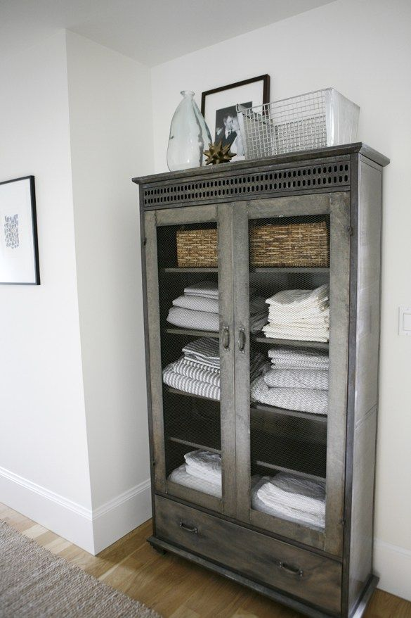 Gorgeous Bathroom Linen Cabinet From A Modern Farmhouse By H2 Design + Build  . Perfect Color