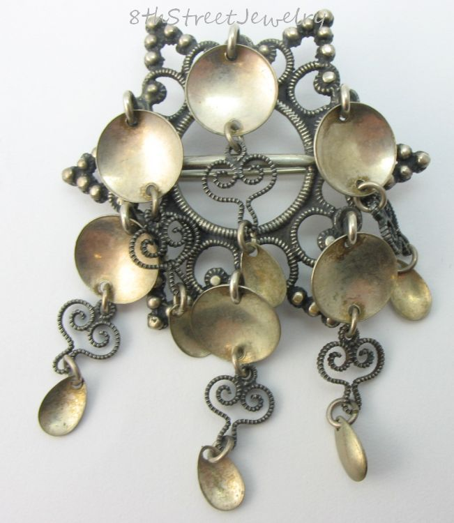 Estate Silver 830S Sølje Solje Filigree 6 Point Star Pin Brooch Elvik Co Norway #ElvikCoAS