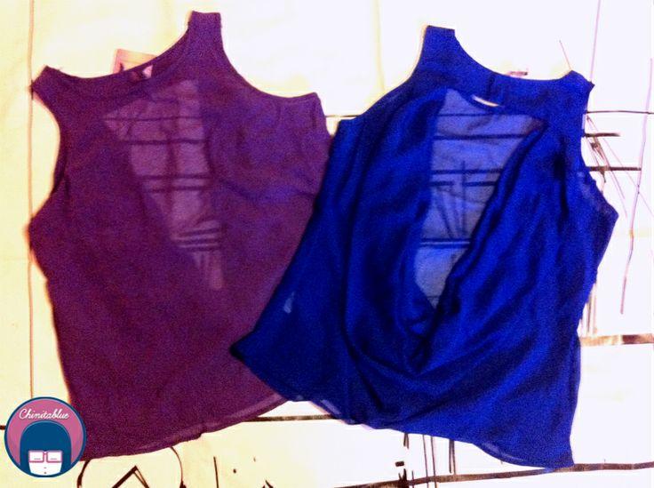 Polera morada escote espalda. 8MIL // Polera azul escote espalda. 8MIL