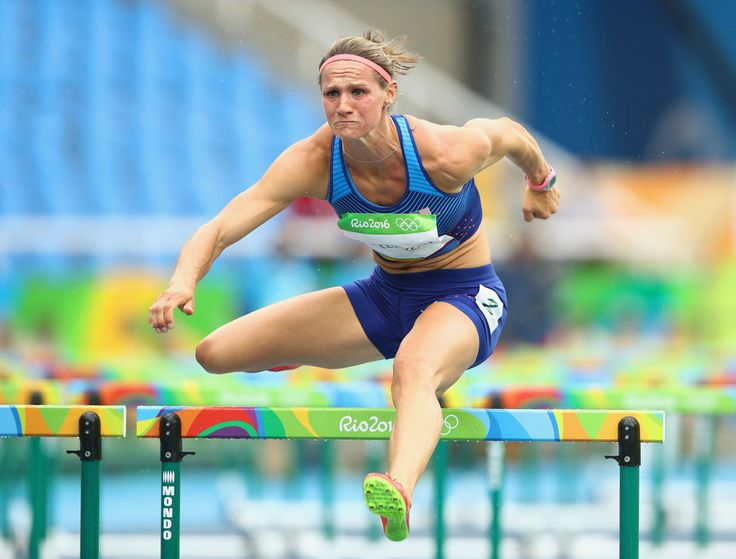 Heather Miller-Koch of the United States competes in Women's Heptathlon 100 Meter Hurdles on Day 7 of the Rio 2016 Olympic Games at the Olympic Stadium on August 12, 2016 in Rio de Janeiro, Brazil.