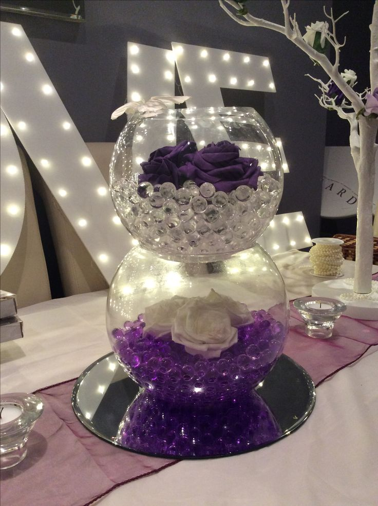 Double Fish Bowl Wedding Centrepiece For Purple Themed
