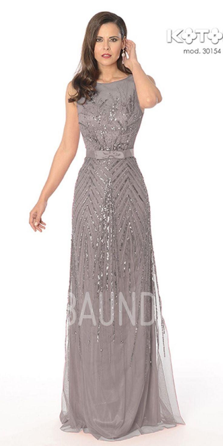 Vestido de madrina gris 2017 Koton 30154. Elegante vestido largo de tul de color azul turquesa, cuerpo con escote corazón y tul con pedrería sin mangas