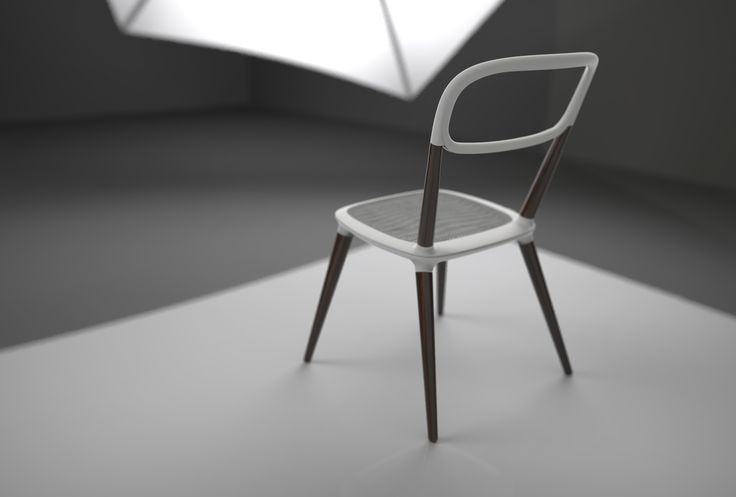 Chair design concept - wood and fibre reinforced plastic.