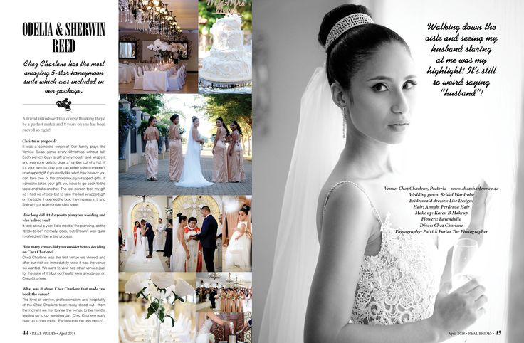 Real Brides Magazine, April 2018 issue, Chez Charlene, 5 Star Wedding Venue, Pretoria East, Gauteng, www.chezcharlene.co.za