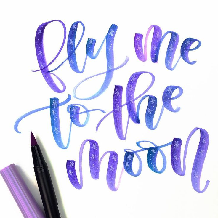 """a starry night in letters pens tombow dual brush"