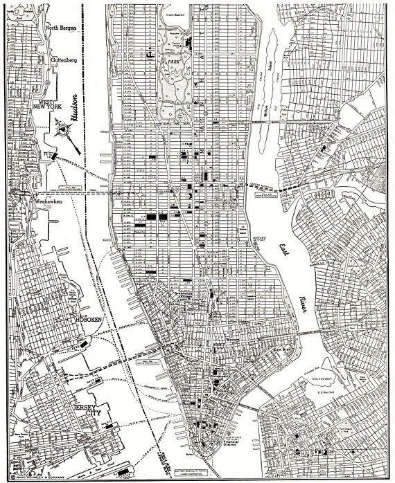 1947 Vintage Manhattan Map Antique New York City Map Print Black And White Map Gallery Wall Art Gift For Birthd Map Of New York New York City Map Manhattan Map