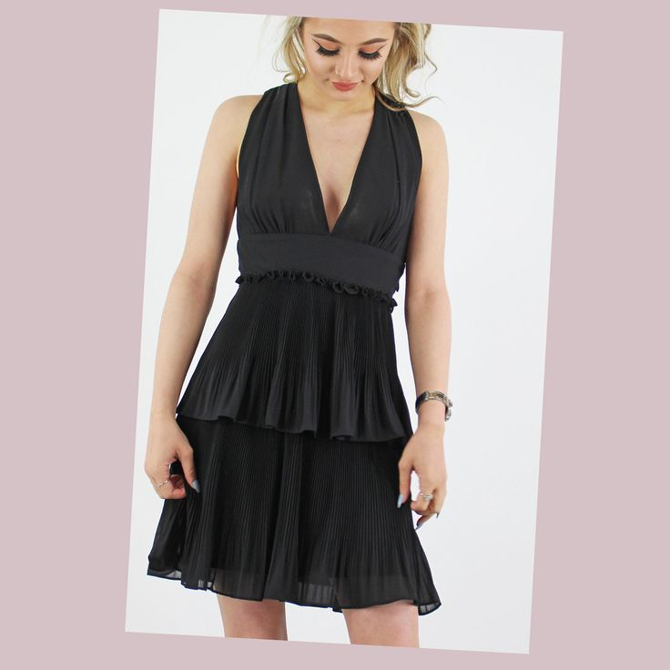 PinkCad3 Black Sleeveless Plunge Neck Pleated Double Frill Dress