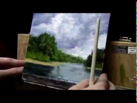 Acrylic Landscape Painting Lesson #08 - Storm Clouds & Water Reflections - YouTube