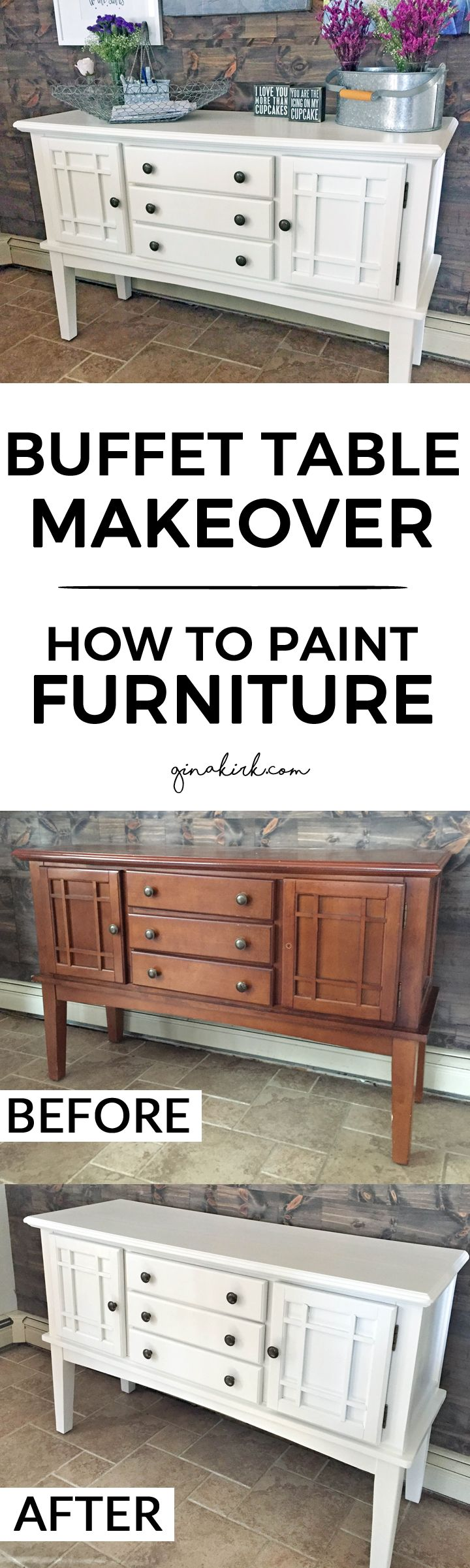 Buffet table makeover | How to paint furniture | The best furniture primer | Refinishing furniture easily | GinaKirk.com @ginaekirk