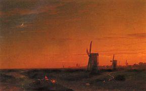 """""""Paisaje de Yeldeğirmenil, Turquía"""". Ivan Aivazovsky (1817-1900)."""