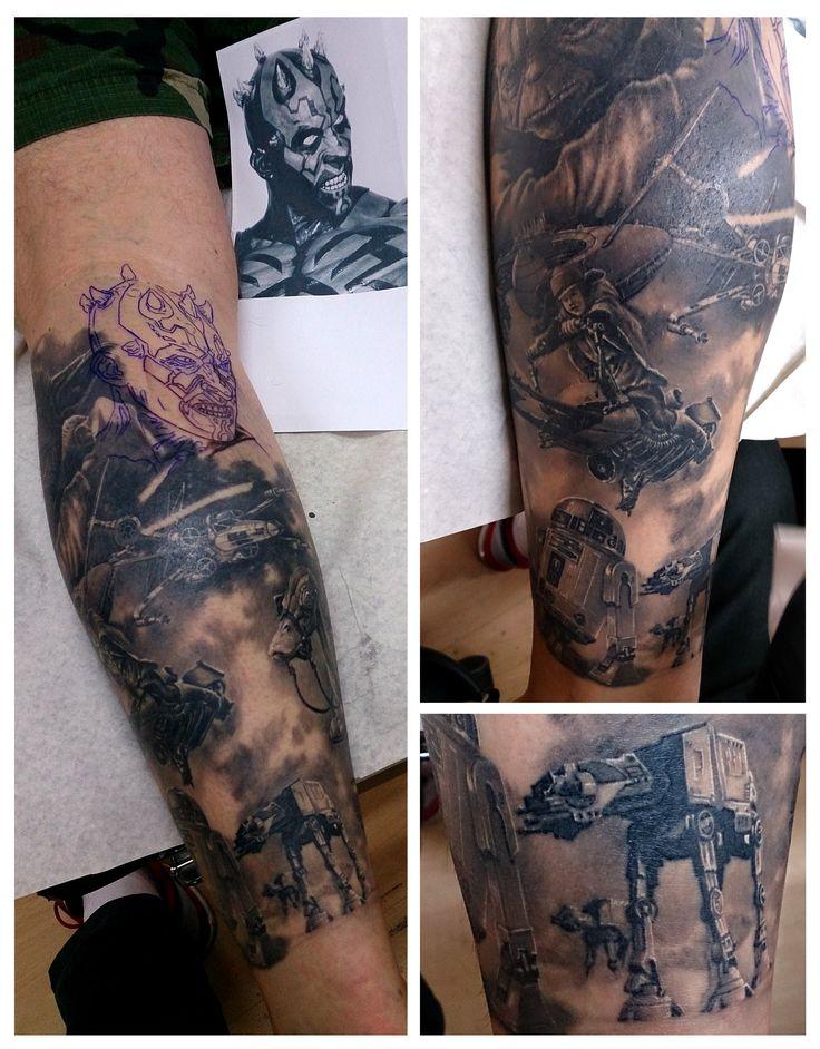 Star Wars themed leg piece. Tattoo by Eddy. #tattoo #tattoos #starwars #tatovering #realistic