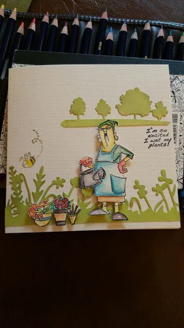 SC0650 Ai His and Hers Gardeners Art Impressions at Michaels' Craft Store!!! Handmade card: I'm so excited I wet my plants!