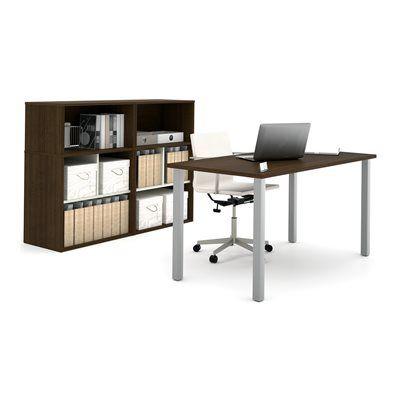 Bestar 150881 i3 by Bestar 4 Metal Leg Desk/Open Storage with Small Hutch Executive Kit