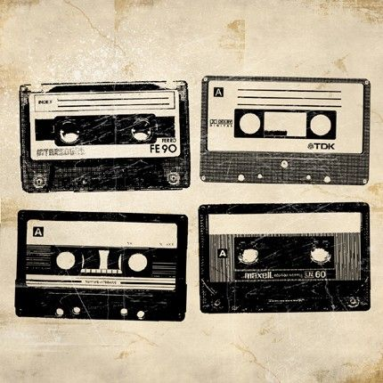 6x6 Retro Cassette Tapes Print by MonsterGallery on Etsy, $9.00