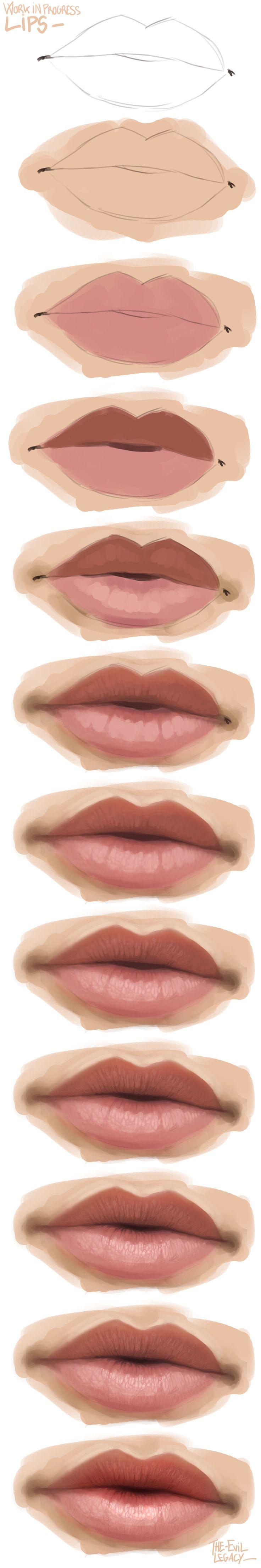 En esta imagen se nota el proceso utilizado para dibujar y dar un poco de proundidad a unos labios animados. Esta es una gran tecnia utilizada por animadores reconocidos para utilizarlas e sus animes.